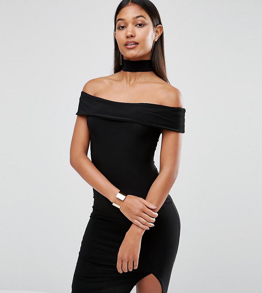 f46464a563 Club L Choker Detail Midi Dress in Black - Lyst