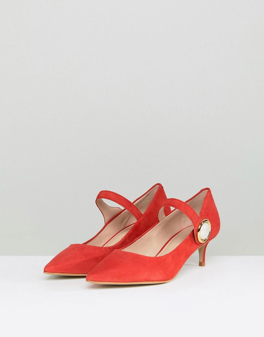 d5b44815158 Carvela Kurt Geiger Argonite Red Suede Kitten Heels With Pearl Detail in Red  - Lyst