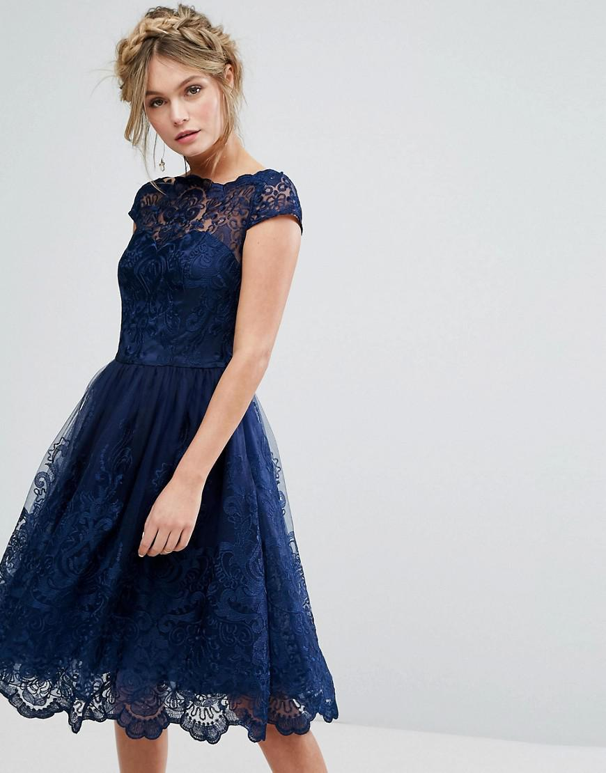 b42bf03370e Chi Chi London. Women s Blue Premium Lace Midi Dress With Cap Sleeve In Navy
