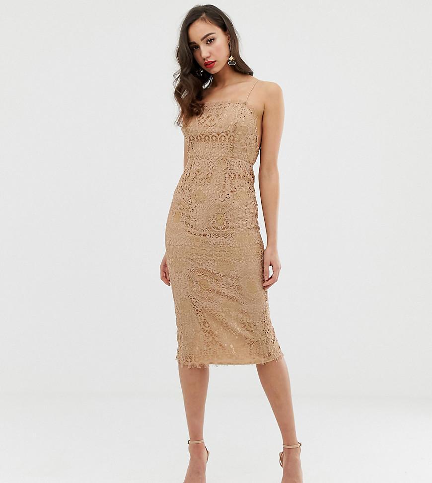 9e9126c4d243b ASOS. Women's Natural Asos Design Tall Square Neck Midi Pencil Dress In Lace