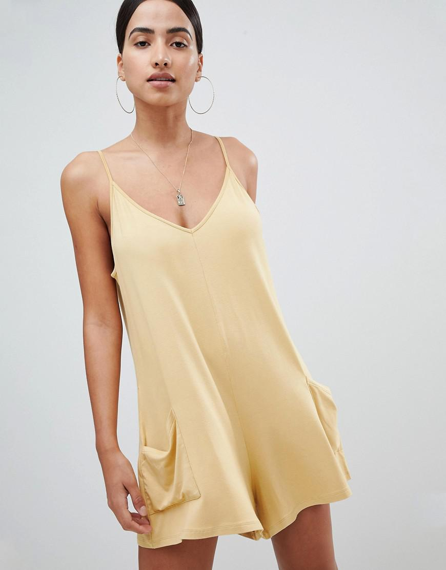 c6a55e53a98 Lyst - ASOS Jersey Minimal Romper With Pockets in Yellow