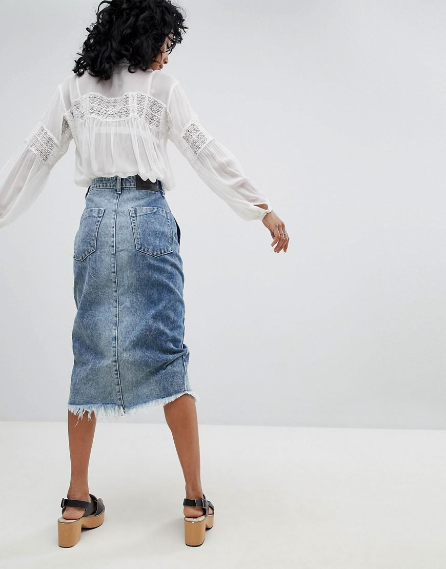 ef4b705e59c3 One Teaspoon Festival Mid Length Denim Skirt in Blue - Lyst