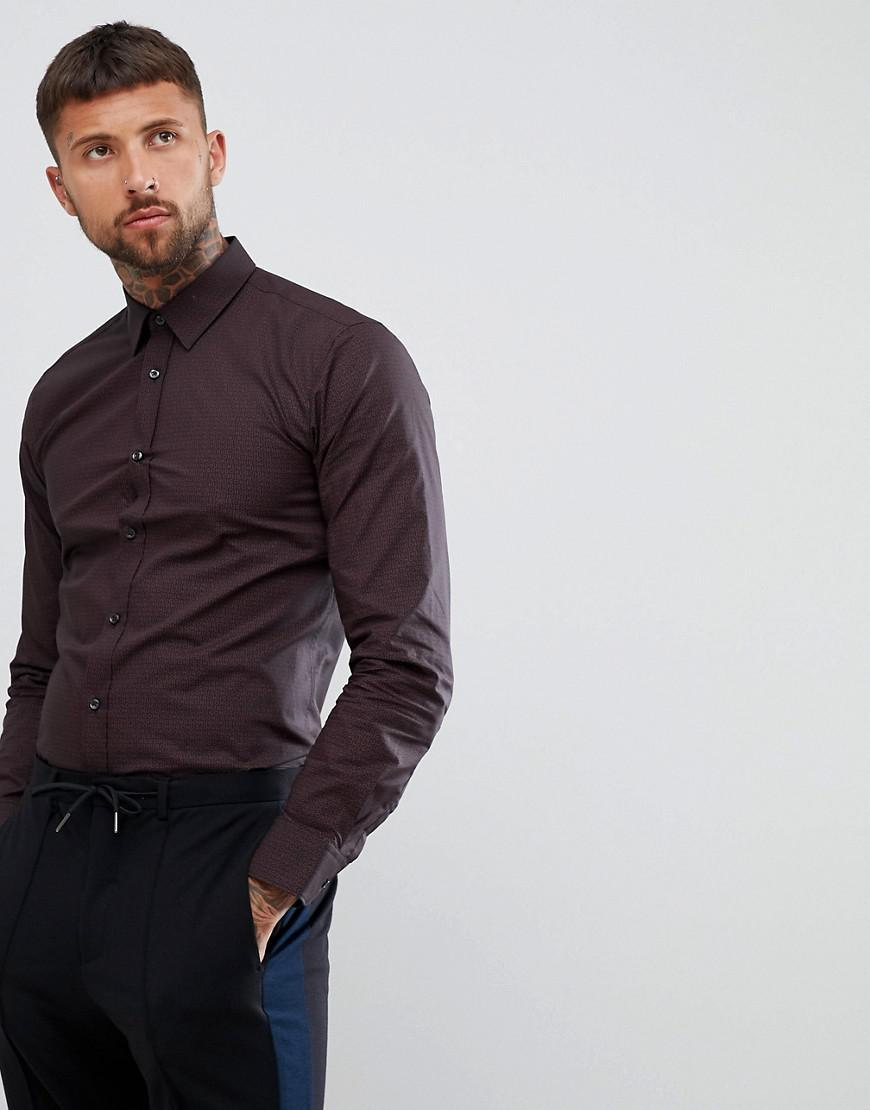 139725478dbb HUGO Elisha Extra Slim Fit Poplin Shirt With Print In Black burgundy ...