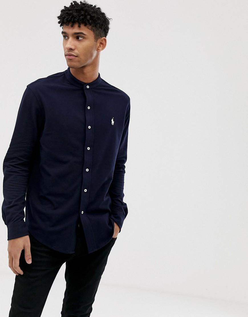 73173f28 Polo Ralph Lauren. Men's Blue Player Logo Grandad Collar Pique Shirt Slim  Fit In Navy