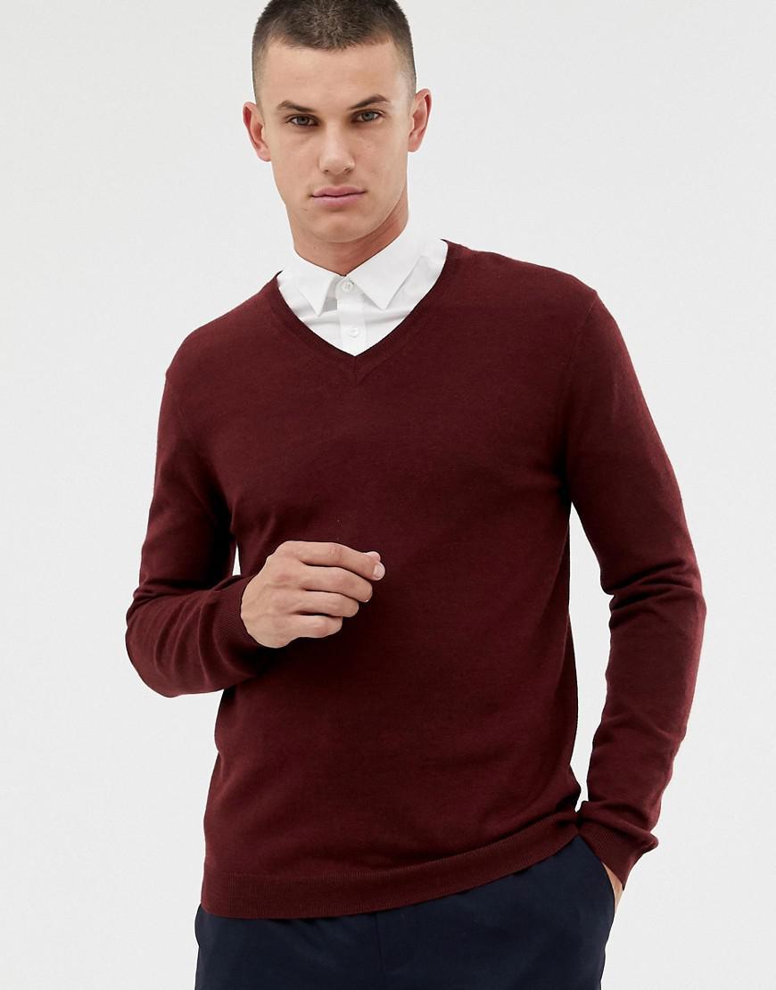4d397085 ASOS Merino Wool V-neck Sweater In Burgundy in Red for Men - Lyst