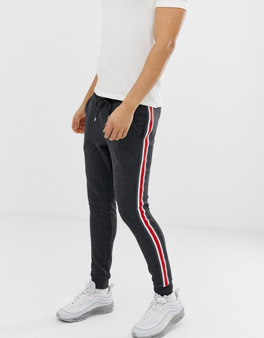 dc1e8725 Lyst - ASOS Super Skinny Sweatpants With Side Stripe In Charcoal in ...