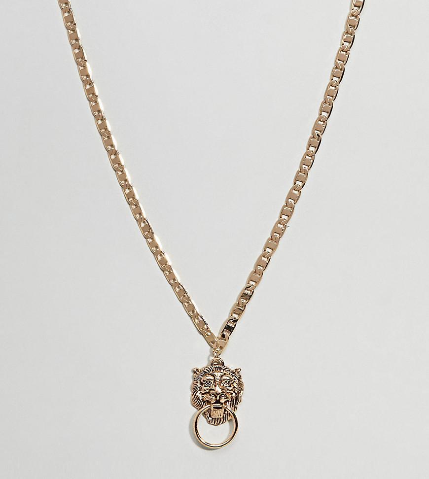 ASOS DESIGN Curve Exclusive Lionhead Door Knocker Necklace - Gold Asos Curve XPa9jvgdLT