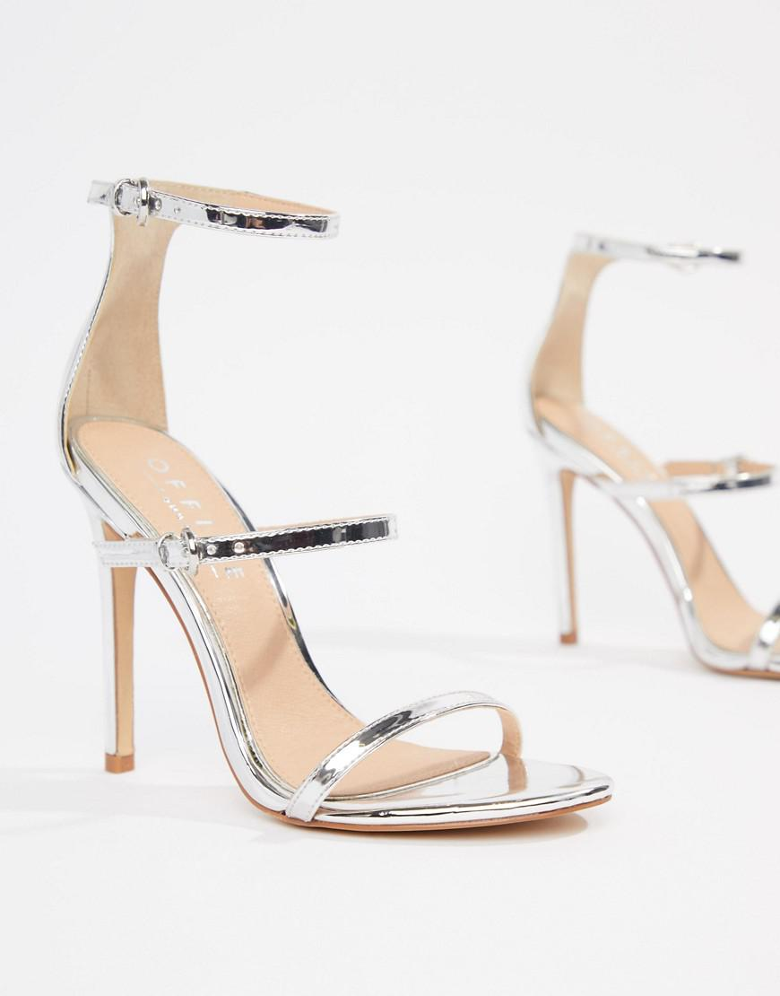 98e18763d48 Lyst - Office Hush Three Strap Silver Heeled Sandal in Metallic