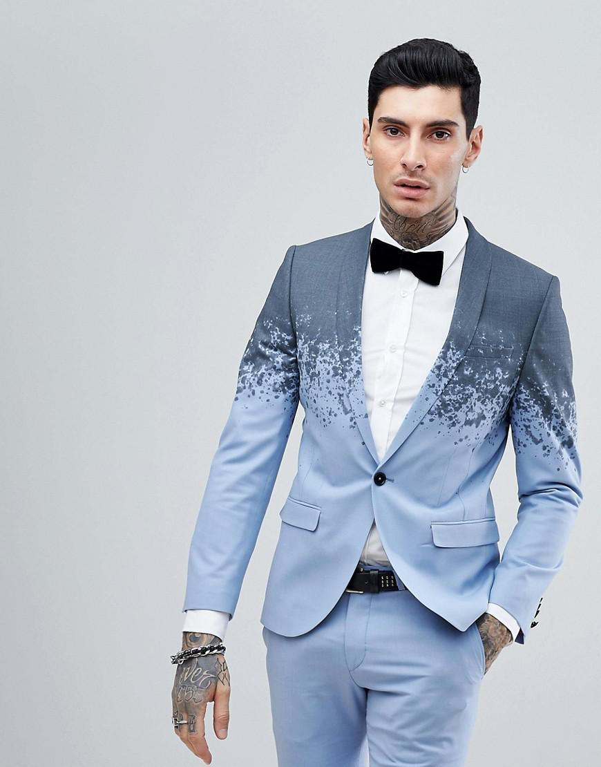 Lyst - Noose And Monkey Super Skinny Suit Jacket In Print in Blue ...