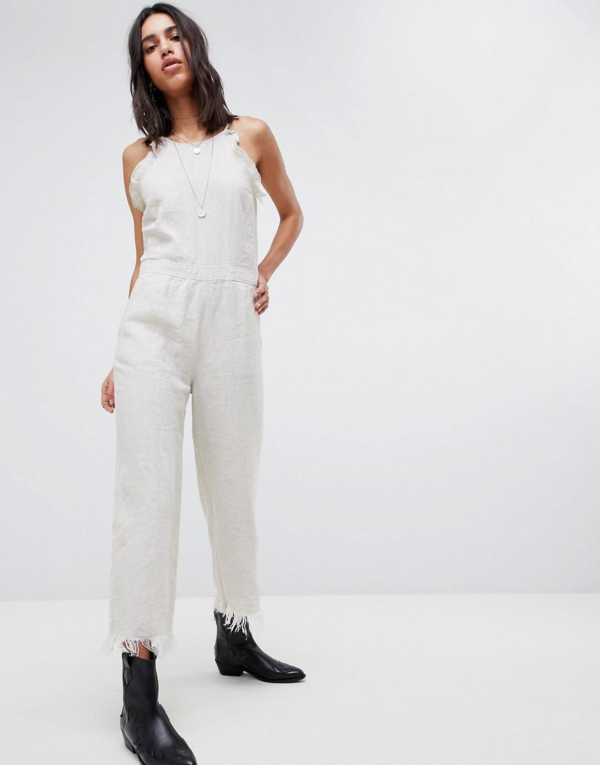 e0a9de1ece7 ... White Festival Crop Linen Jumpsuit - Lyst. View fullscreen