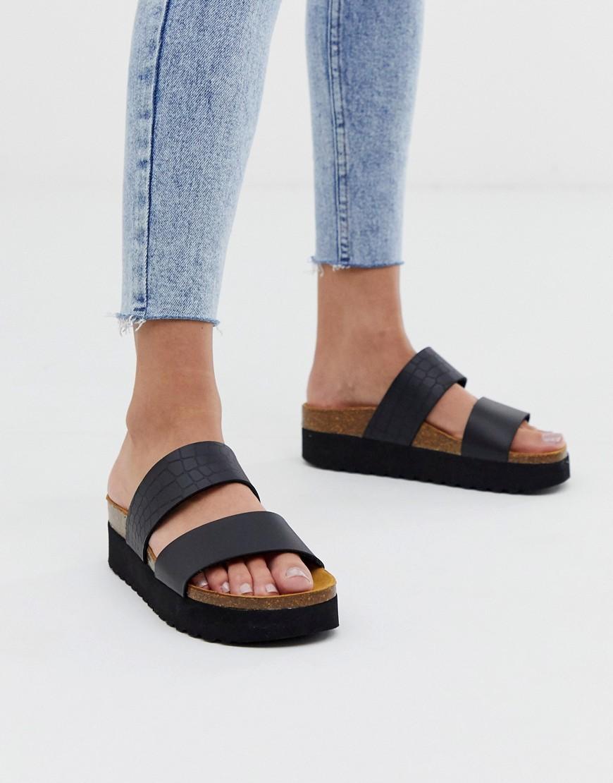 61e5e7b1e0 Office Magnetic Black Croc Mix Slider Flat Sandals in Black - Lyst