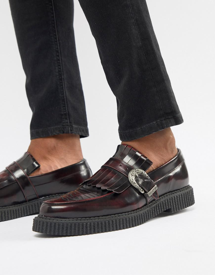 ASOS DESIGN Creeper Loafers In Burgundy Leather With Fringe Detail clearance shop outlet comfortable outlet cost 219gGMpOu