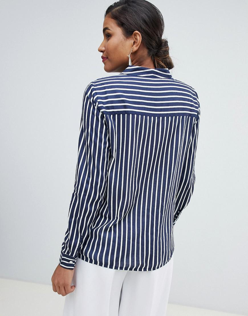 c3ee07eac27143 Y.A.S Strey Striped Collareless Shirt in Blue - Lyst