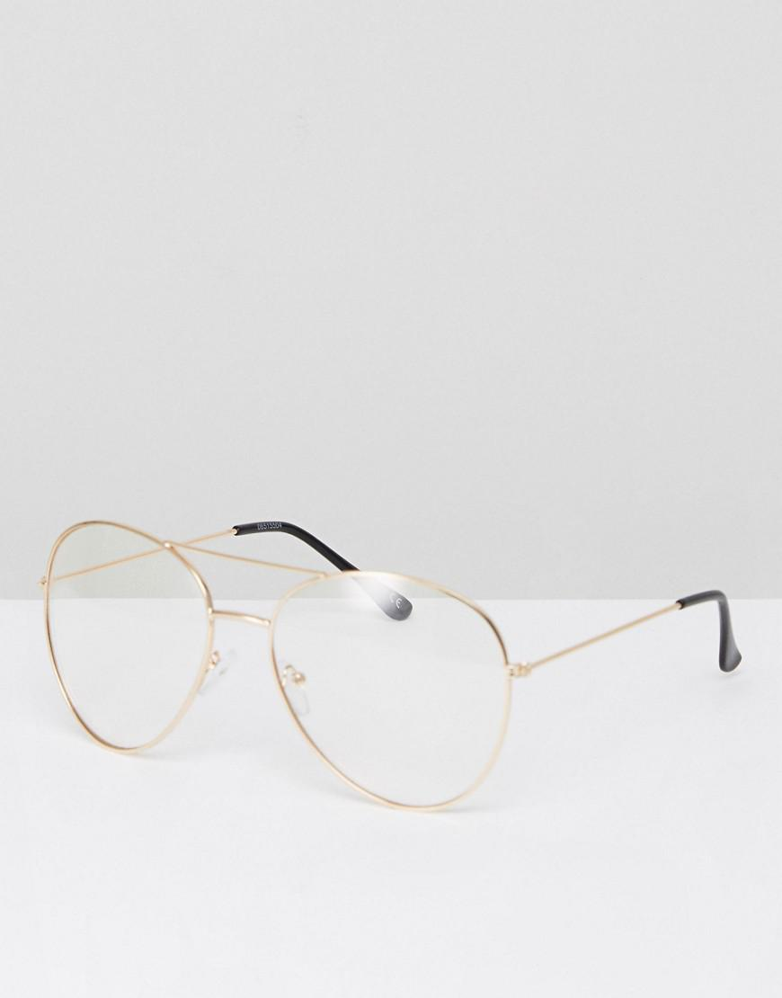 2cb7b020a3dcc Lyst - ASOS Aviator Glasses In Gold Metal With Clear Lens in ...