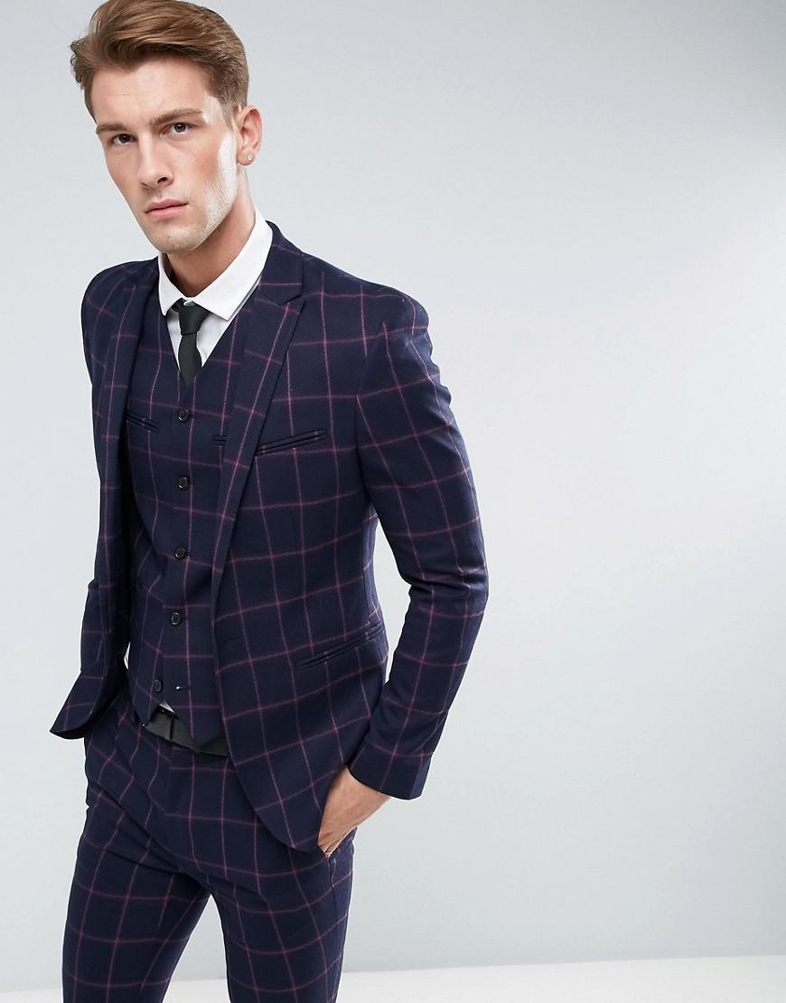 ASOS. Men's Blue Super Skinny Suit Jacket In Navy And Pink Windowpane Check