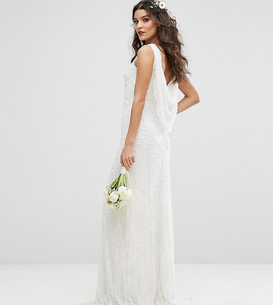 Cowl Back Bridesmaid Dress: Amelia Rose Bridal Cowl Back Maxi Dress In All Over
