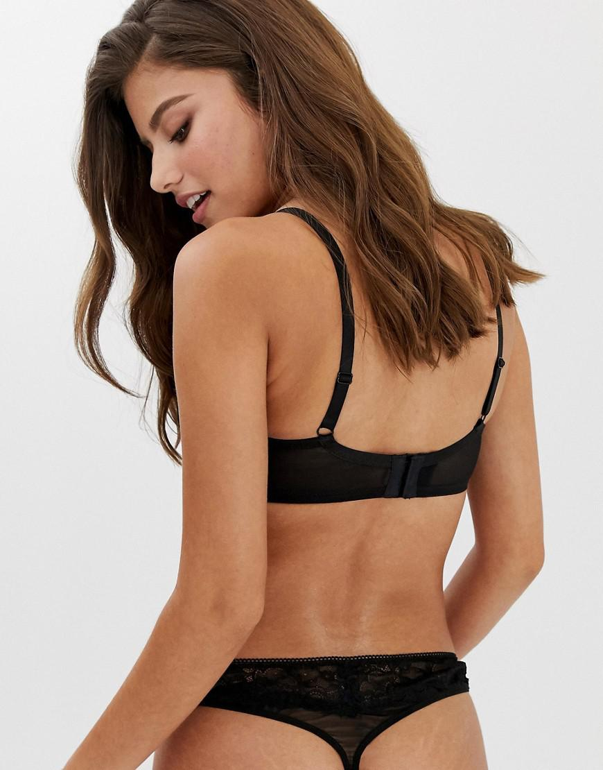 11cb28198a29a Wolf   Whistle Fuller Bust Exposed Wire Lace And Mesh Detal Bra In Black in  Black - Lyst