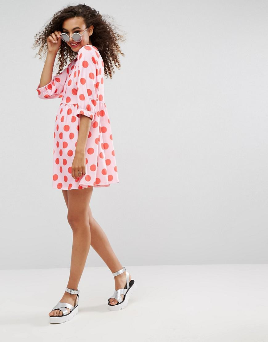 d4e0ad27bd ASOS Polka Dot Smock Dress With Elastic Cuff Detail - Lyst
