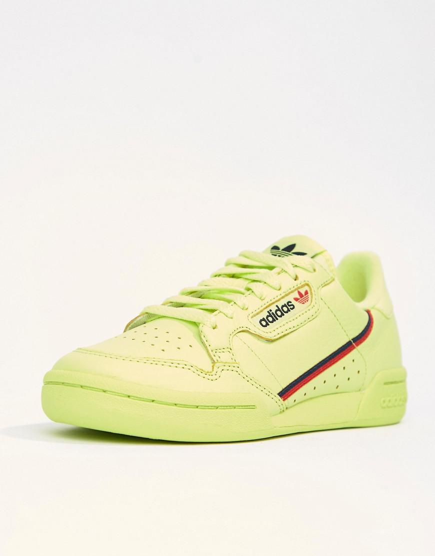 best cheap 97abe 5083f adidas Originals. Womens Green Continental 80s Sneakers In Semi Frozen  Yellow