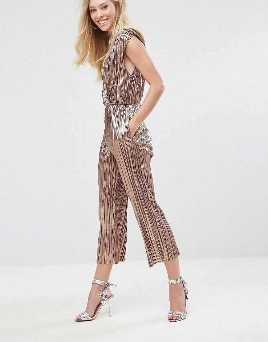 7b32f377c2d Oh My Love Pleated Grecian Wrap Front Jumpsuit in Metallic - Lyst