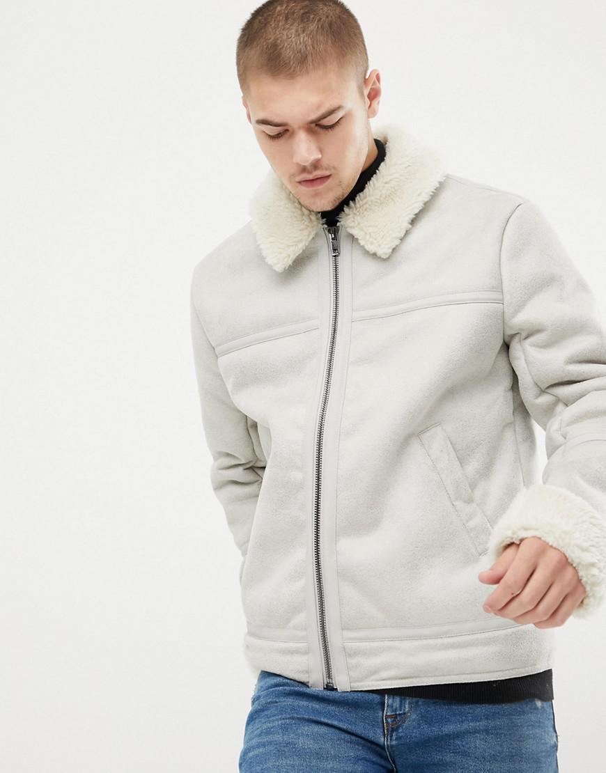 fa9e7116d94 Lyst - ASOS Faux Shearling Jacket In Stone for Men