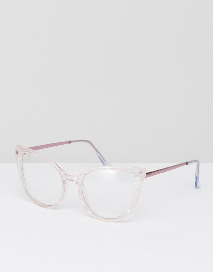 81cb7803d87 Lyst - ASOS Cat Eye Clear Lens Acetate Frame Geeky Glasses With Rose ...