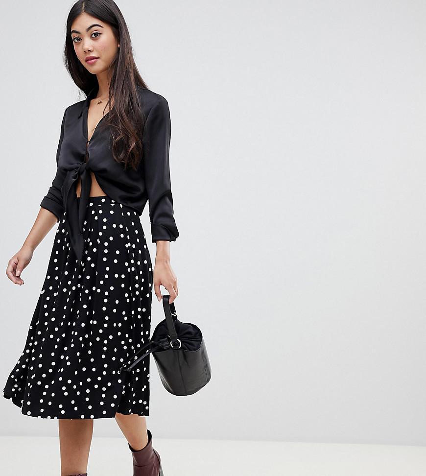 5c687117c9 ASOS. Women's Black Asos Design Petite Midi Skirt With Box Pleat In Polka  Dot Print