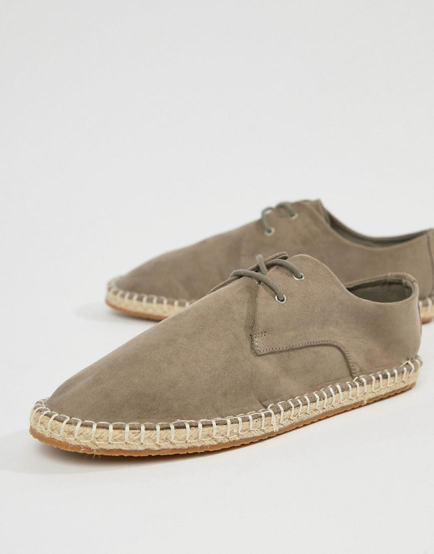 Mens Grey lace up espadrilles River Island NAelnKBTpo