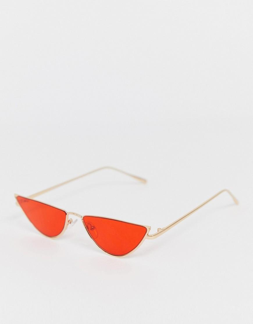 4d45032579035 ASOS - Metallic Metal Cat Eye Sunglasses In Gold With Red Lens for Men -  Lyst. View fullscreen