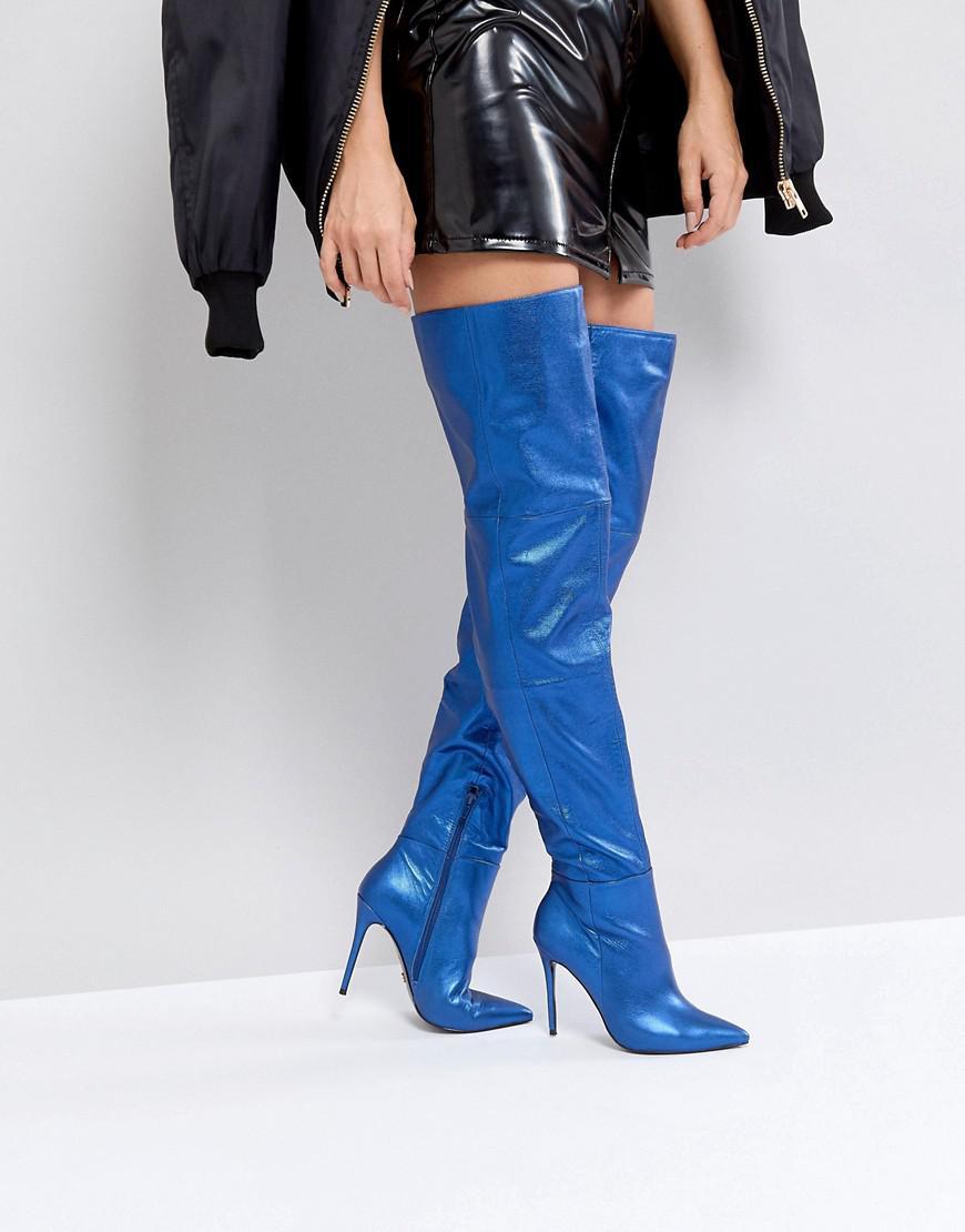 b9a39a8e465 Kurt Geiger Kg By Kurt Geiger Vita Blue Leather Heeled Knee High ...