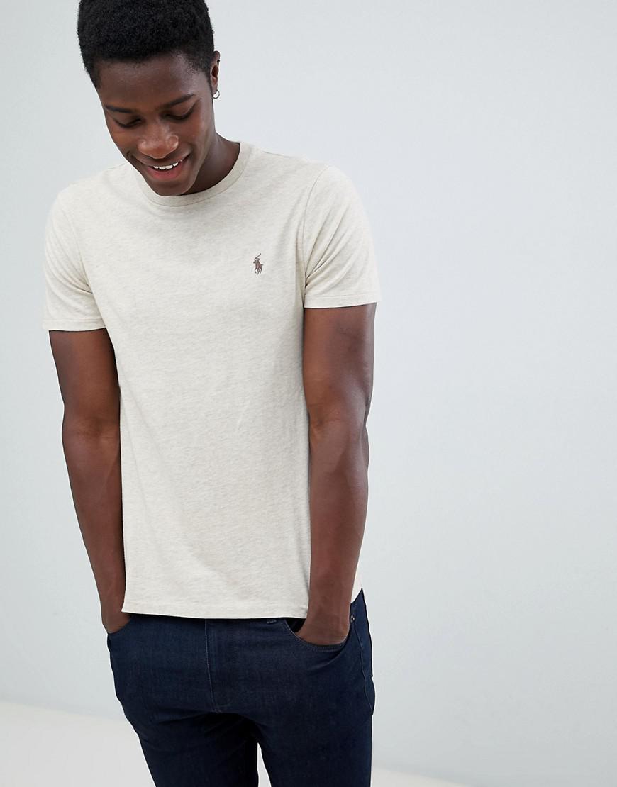 d8ebd992059a84 Polo Ralph Lauren Custom Slim Fit T-shirt Player Logo In Beige Marl ...