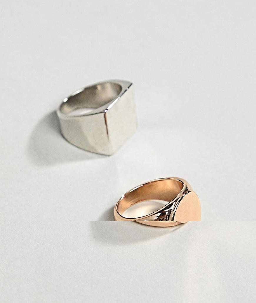 Asos DESIGN Signet Ring Pack In Gold And Silver - Multi V7imWKw3jz