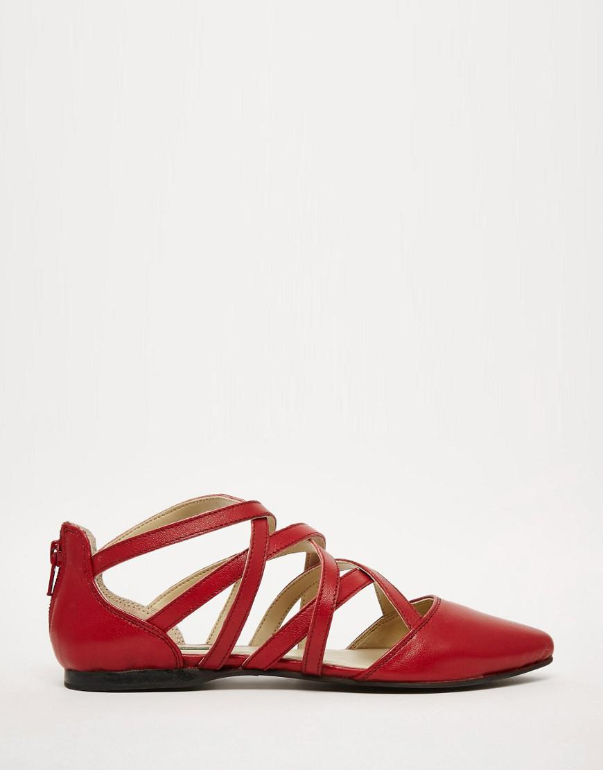 2d0fa741b3ec Lyst - Park Lane Strappy Leather Flat Shoes in Red