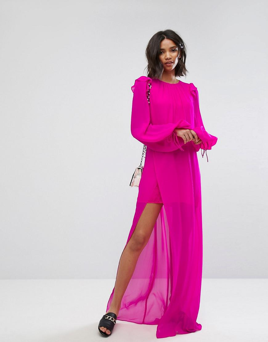 Mango Silk Chiffon Maxi Dress In Bright Pink in Pink - Lyst