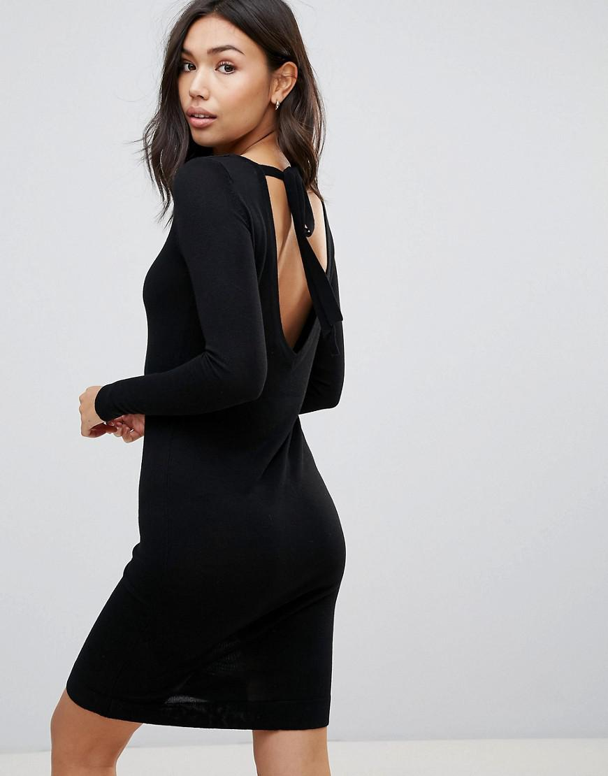 Vero Moda Tie Back Midi Dress In Black