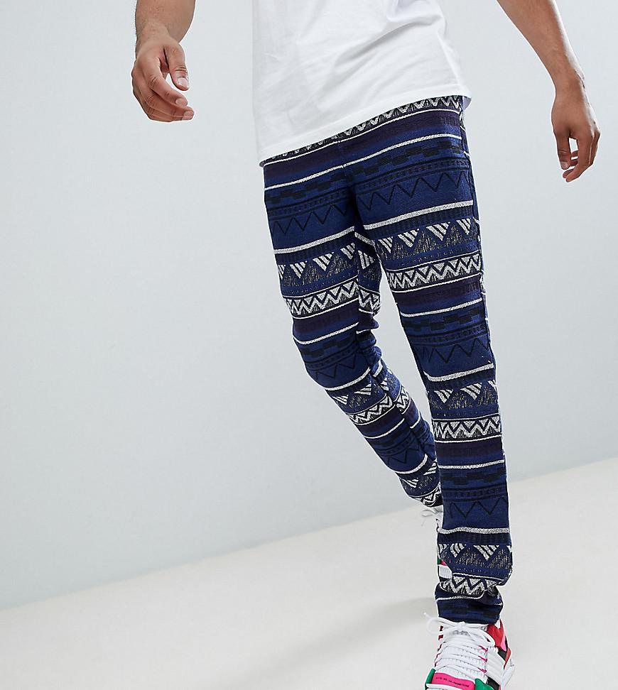 DESIGN Plus Festival Tapered Trousers In Blue Aztec Jacquard With Elasticated Waist - Blue Asos Buy Cheap Low Price Fee Shipping Factory Sale Sale Sneakernews N9kKRm0h