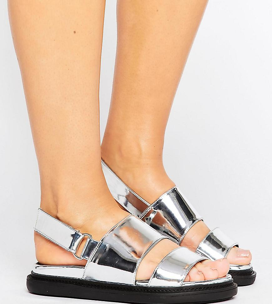 e1bf793480b Lyst - ASOS Fennel Wide Fit Chunky Flat Sandals in Metallic