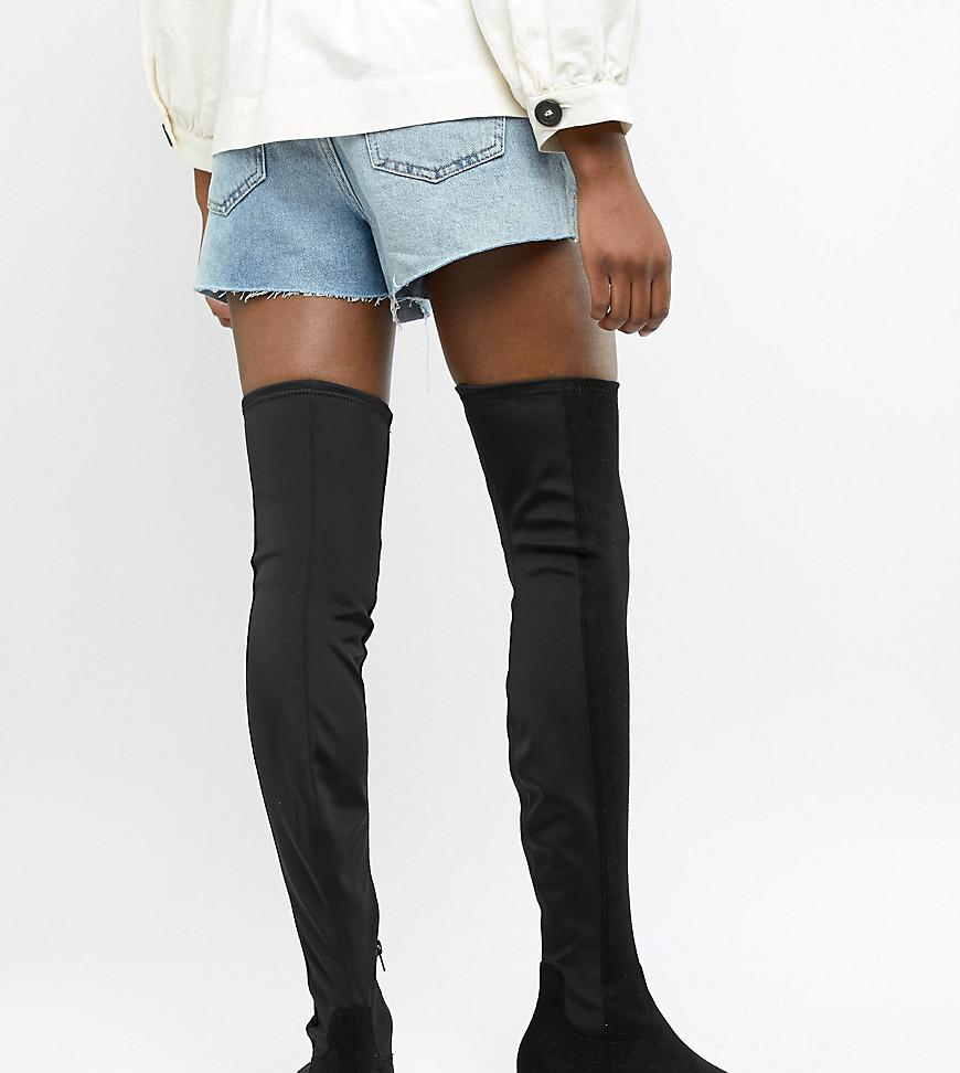 0204e0ee4d2 Lyst - ASOS Wide Leg Kelby Flat Elastic Thigh High Boots in Black ...