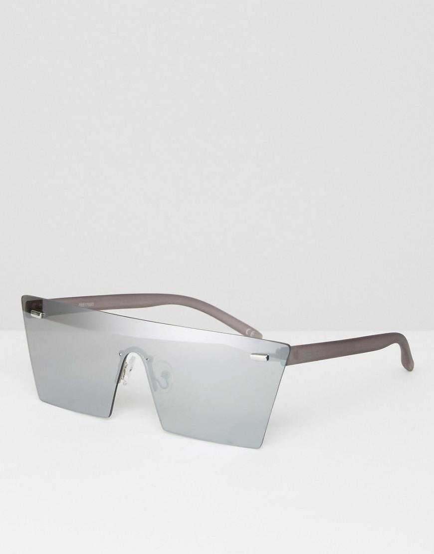 ce910c1b2e Lyst - ASOS Flatbrow Visor Sunglasses With Silver Lens in Metallic ...