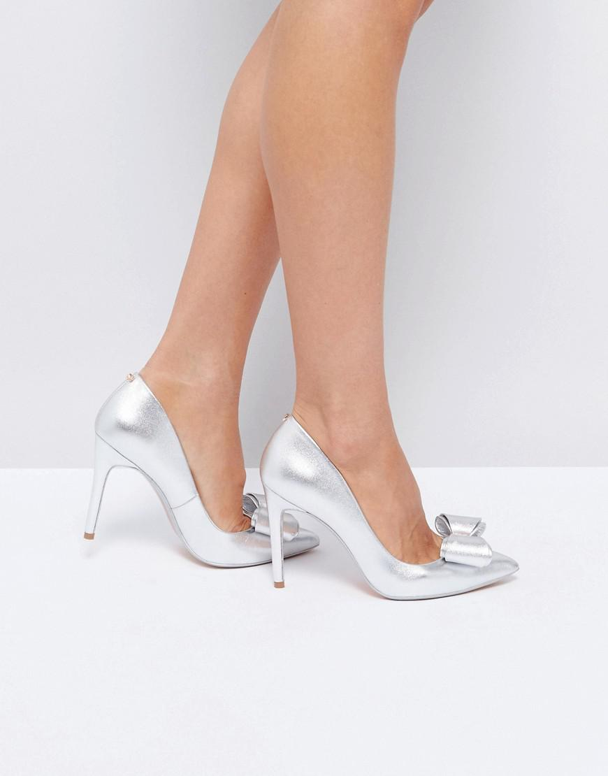 b7a390589 Ted Baker Azeline Silver Leather Bow Court Shoes in Metallic - Lyst