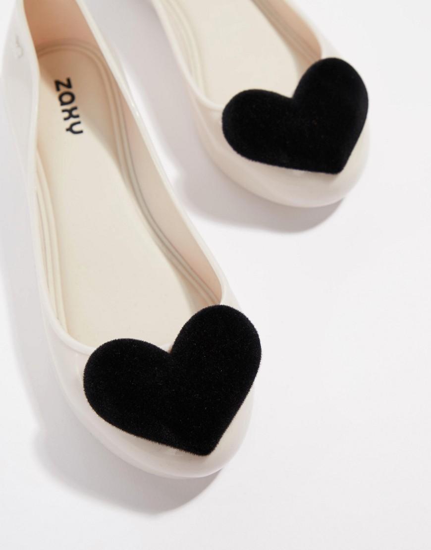 6e9685b8c719 Zaxy - Black Flock Heart Flat Shoes - Lyst. View fullscreen