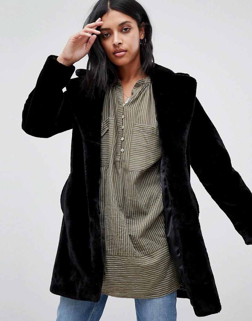 Barney's Black Manteau Originals Avec Lyst Col Fausse Fourrure 5rW57