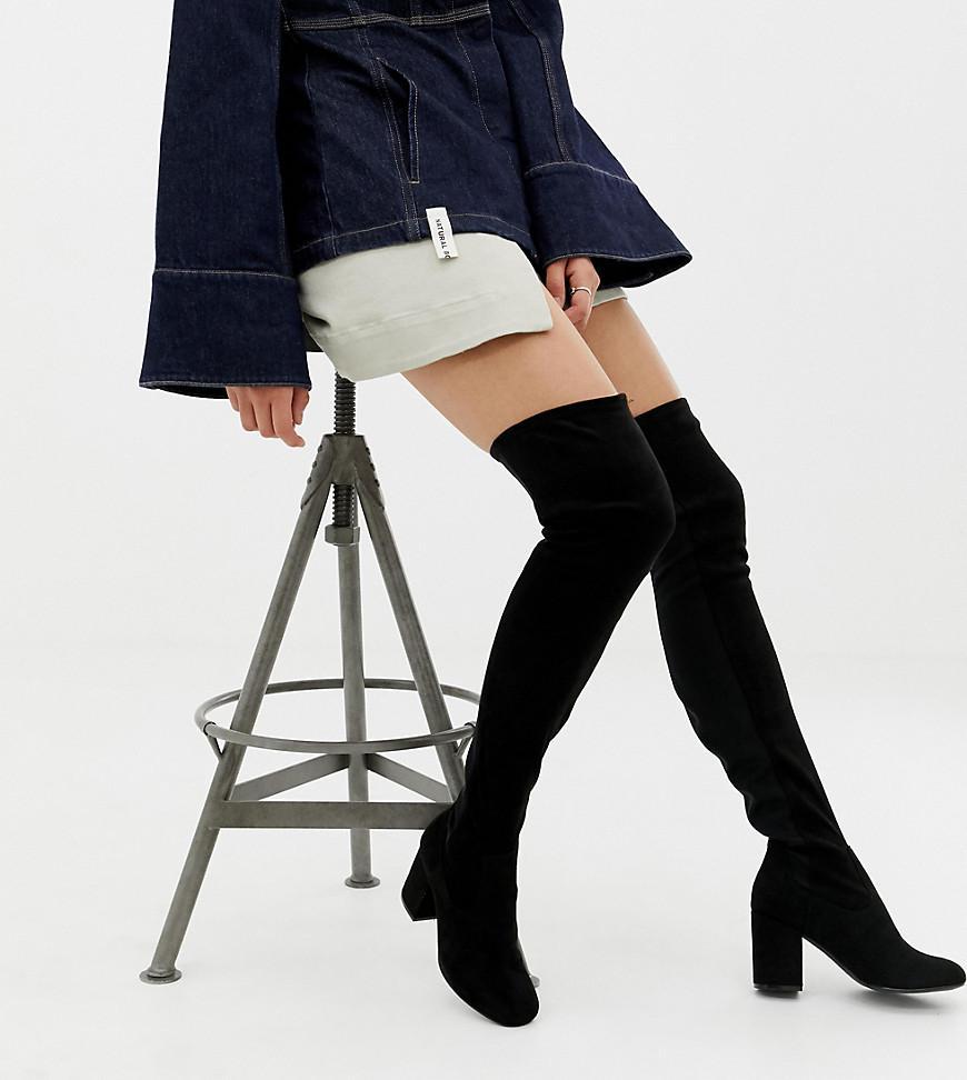 c79289f65da Lyst - ASOS Asos Design Tall Kadi Heeled Thigh High Boots in Black ...