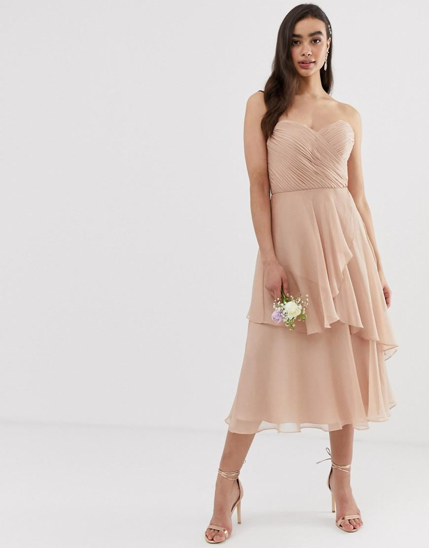 a523300c13f37 Lyst - ASOS Bridesmaid Bandeau Midi Dress With Soft Layered Skirt in ...