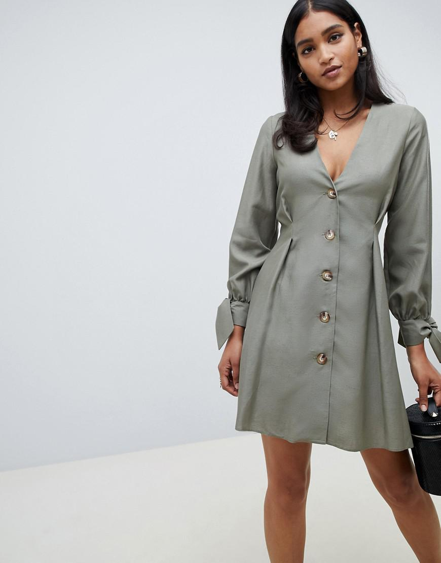 0314dca10e ASOS Button Through Mini Skater Dress With Tie Sleeves in Green - Lyst
