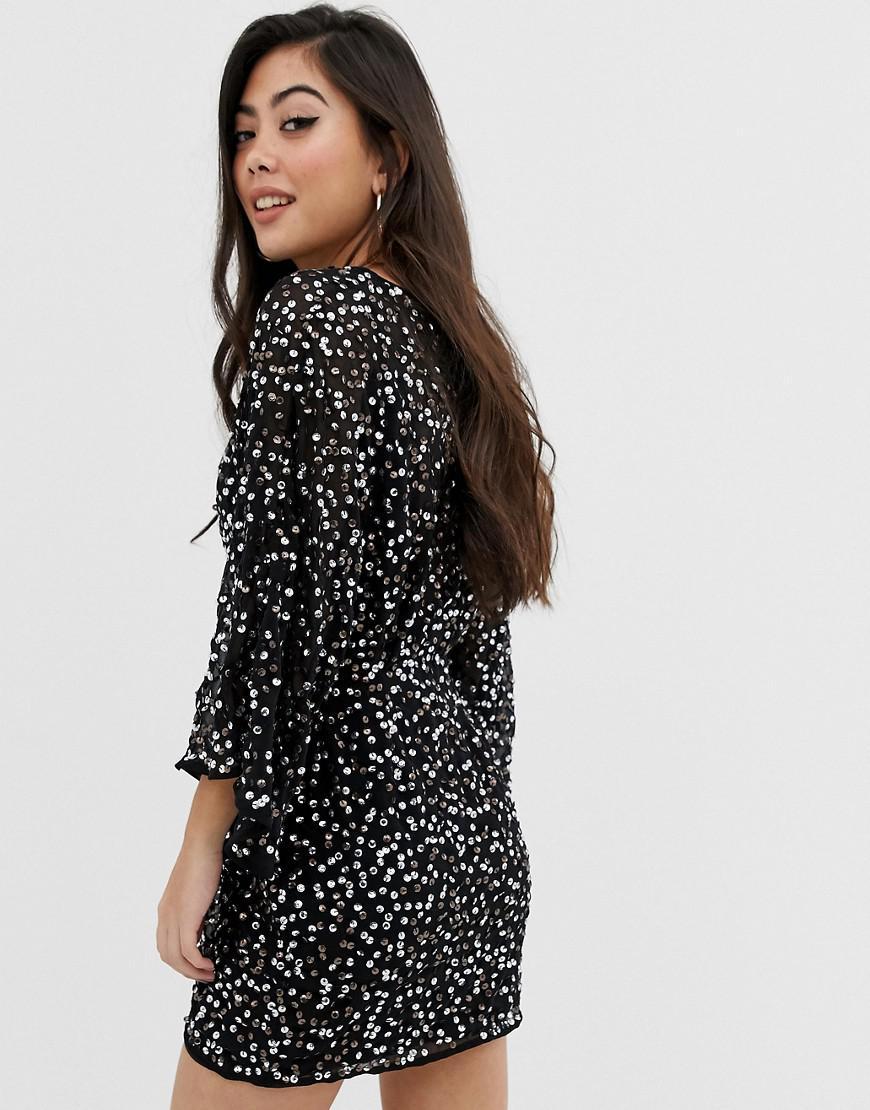 84c984ca1550 ASOS Asos Design Petite Scatter Sequin Knot Front Kimono Mini Dress in  Black - Lyst