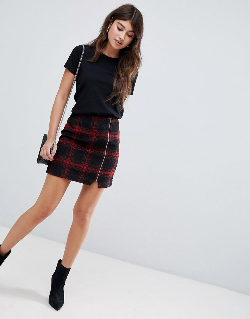 55cb04e28f9e43 ASOS Red Check Mini Skirt With Asymmetric Zip in Black - Lyst