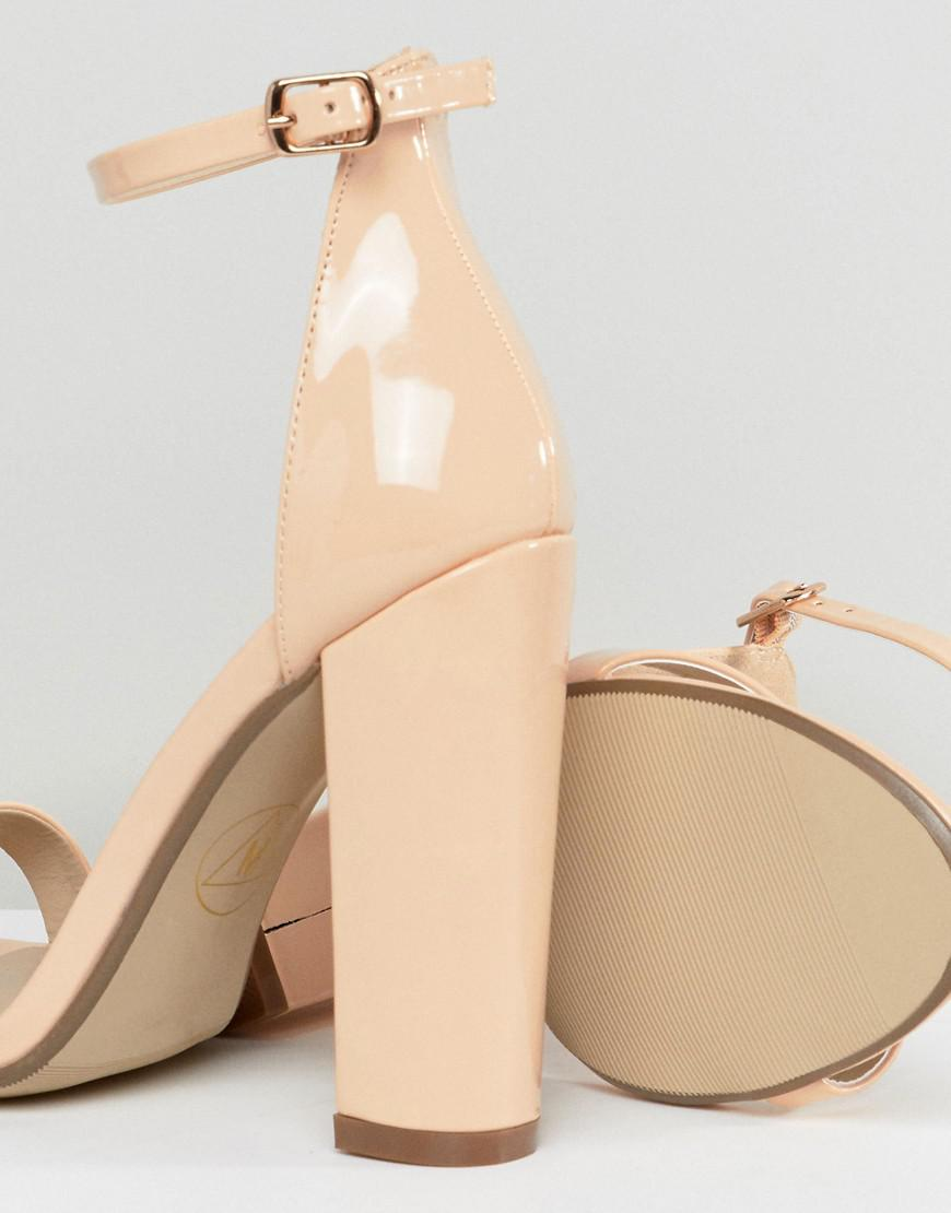 9ffc28d6383503 Lyst - Missguided Block Heeled Barely There Sandal In Nude in Natural