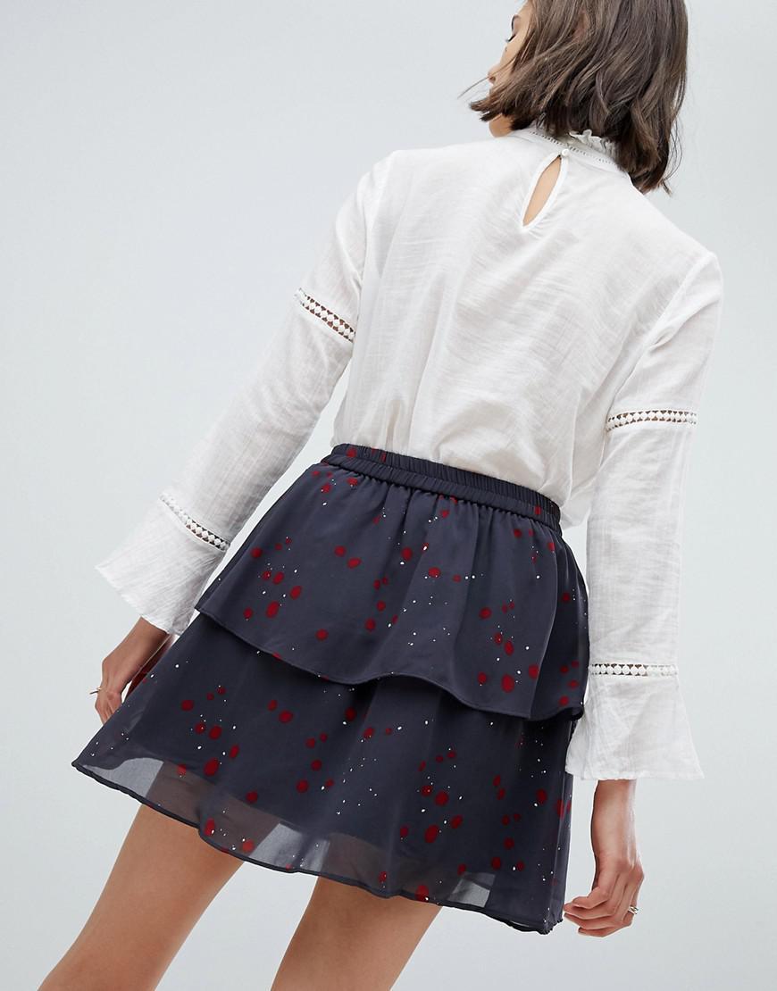 920ce0651c Lyst - Vero Moda Floral Flippy Skirt in Blue
