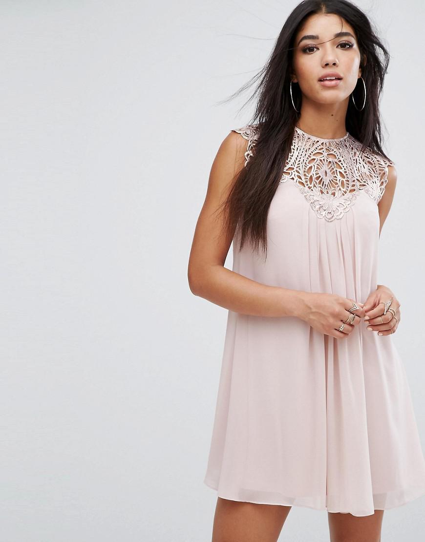 1ac10c64dfd05 Lyst - Lipsy Lace Detail Swing Dress in Pink
